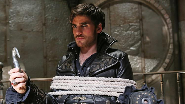 "This publicity photo released by ABC shows Colin O'Donoghue as Captain Hook in a scene from ""Once Upon a Time,"" on the ABC Television Network. (AP Photo/ABC, Jack Rowand)"