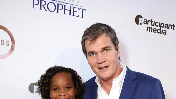"""Quvenzhane Wallis and producer Clark Peterson seen at Participant Media Special Los Angeles Screening of """"Kahlil Gibran's The Prophet"""" held at LACMA's Bing Theater on Wednesday, July 29, 2015, in Los Angeles. (Photo by Eric Charbonneau/Invision for Participant Media/AP Images)"""