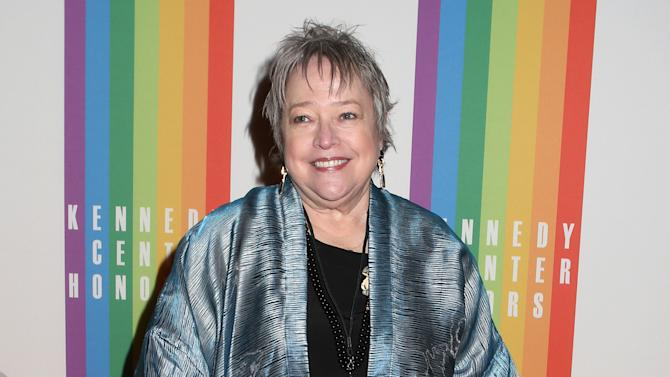 """FILE - In this Dec. 8, 2013 file photo, actress Kathy Bates attends the 2013 Kennedy Center Honors at the Kennedy Center for the Performing Arts, in Washington. The 66-year-old Oscar winner plays Lenore, a successful entrepreneur who figuratively slaps sense into the film's lovable loser of a titular character (Melissa McCarthy), in a new comedy, """"Tammy."""" (Photo by Greg Allen/Invision/AP, file)"""
