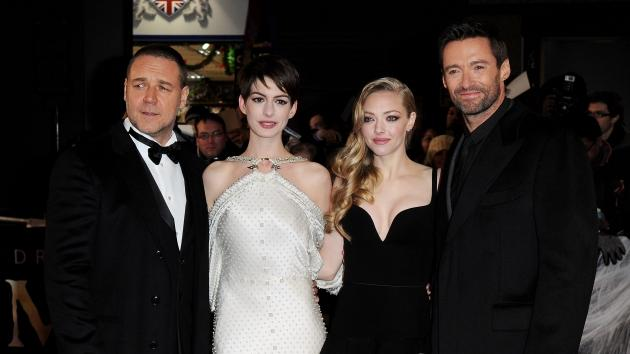 Russell Crowe, Anne Hathaway, Amanda Seyfried and Hugh Jackman attend the World Premiere of 'Les Miserables' at Odeon Leicester Square on December 5, 2012 in London -- WireImage