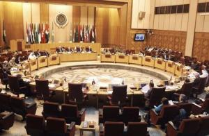 A general view shows Palestinian chief negotiator Saeb Erekat and Arab League Chief Nabil el-Araby during the meeting at the Arab League in Cairo