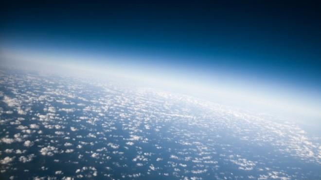 View of planet earth's atmosphere from space.