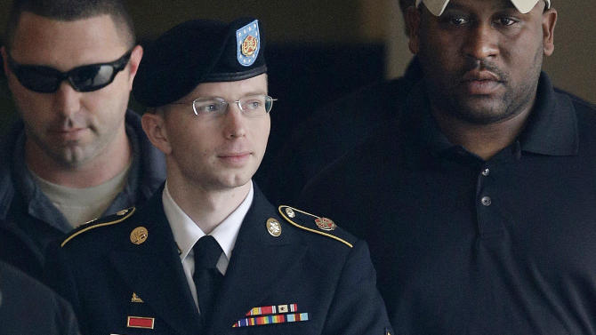 Army Pfc. Bradley Manning outside a courthouse in Fort Meade, Md.