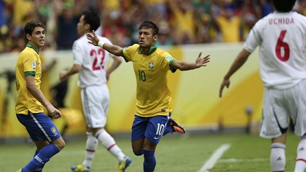 Neymar opens the scoring for Brazil against Japan at the Confederations Cup (Reuters)