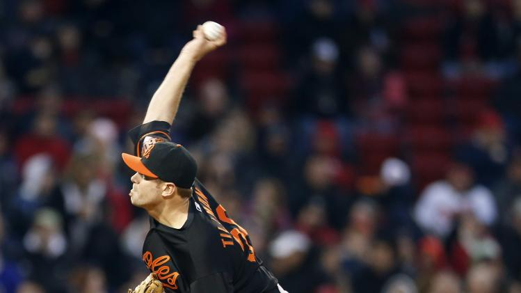 Baltimore Orioles' Chris Tillman pitches in the first inning of a baseball game against the Boston Red Sox in Boston, Friday, April 18, 2014. (AP Photo/Michael Dwyer)