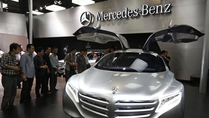 A Mercedes-Benz concept car is displayed at the company's booth during the Guangzhou Auto Show in China's southern city of Guangzhou Thursday, Nov. 22, 2012. China's second largest auto show kicked off Thursday. (AP Photo/Vincent Yu)