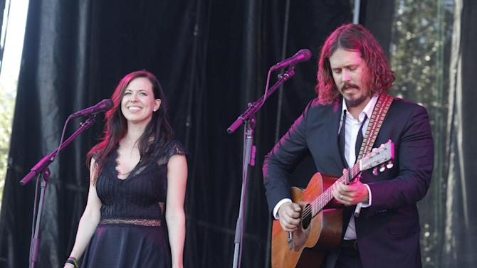 FILE - In this Oct. 14, 2012 file photo, John Paul White, right, and Joy Williams of The Civil Wars perform at the Austin City Limits Music Festival, in Austin, Texas. Williams and White issued a statement on their website Tuesday, Aug. 5, 2014 announcing the decision to split, which comes nearly two years after the duo pulled out of a world tour over irreconcilable differences. The duo met on a songwriting project for a put-together country act and had instant chemistry as songwriters. Their self-titled first album went gold and they won four Grammy Awards (Photo by Jack Plunkett/Invision/AP, File)