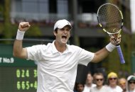Brian Baker of the United States reacts after defeating Jarkko Nieminen of Finland during a second round men's singles match at the All England Lawn Tennis Championships at Wimbledon, England, Thursday, June 28, 2012. (AP Photo/Kirsty Wigglesworth)