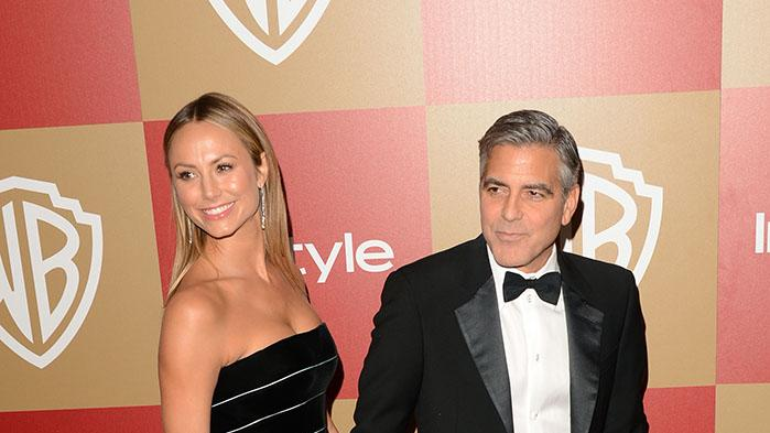 14th Annual Warner Bros. And InStyle Golden Globe Awards After Party - Arrivals: George Clooney and Stacy Keibler
