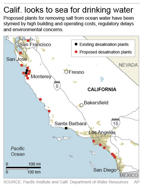 Map shows existing and proposed locations for desalination plants along California's coast.