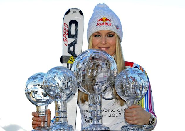 This Handout Picture Released On March 18, 2012 By The Austrian Ski Federation Shows Overall World Cup Winner Lindsey AFP/Getty Images