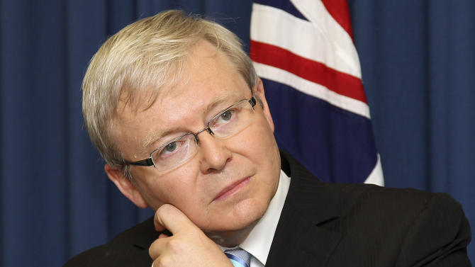 Former Australian Prime Minister, Kevin Rudd gestures during a press conference, in Brisbane, Australia, Friday, Feb. 24, 2012.  Rudd announced Friday that he will attempt to grab back leadership of the country, directly challenging the current prime minister amid a bitter power struggle that has been brewing for weeks. (AP Photo/Tertius Pickard)