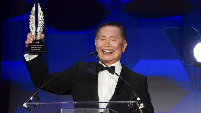 George Takei accepts the Vito Russo Award at the GLAAD Media Awards on Saturday, May 3, 2014 in New York. (Photo by Charles Sykes/Invision/AP)