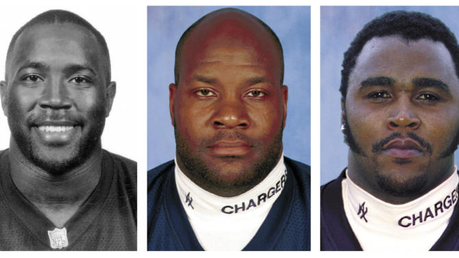 FILE - In these file photos released by the NFL, former San Diego Chargers football players, from left, Lew Bush, Rodney Culver, Shawn Lee, Chris Mims and Junior Seau are shown. Seau's death on Wednesday, May 2, 2012, is the eighth among the Chargers 1994 AFC championship team. Bush, 42, died in December 2011, of an apparent heart attack. Culver, 26, died May 1996, in the ValuJet crash. Lee, 44, died February 2011, of a heart attack. Mims, 38, died October 2008, of an enlarged heart. The others, not shown, Curtis Whitley, 39, May 2008, drug overdose; Doug Miller, 28, July 1998, lightning strike and David Griggs, 28, July 1995, automobile accident. (AP Photo/NFL) MAGS OUT. NO SALES