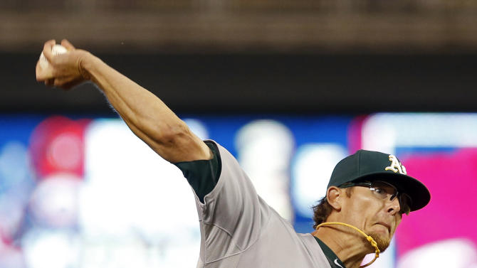 Oakland Athletics relief pitcher Tyler Clippard throws against the Minnesota Twins in the eighth inning of a baseball game, Tuesday, May 5, 2015, in Minneapolis. The Athletics won 2-1. (AP Photo/Jim Mone)