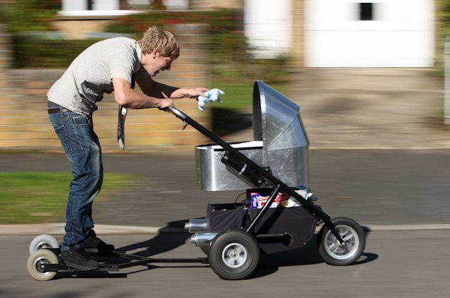 Lazy new dad Colin Furze demonstrates…
