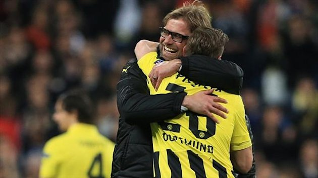 Jurgen Klopp, left, heaped praise on his young Borussia Dortmund side