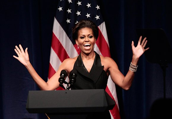 Michelle Obama introduces President Barack Obama at a DNC fundraiser at Gotham Hall, New York