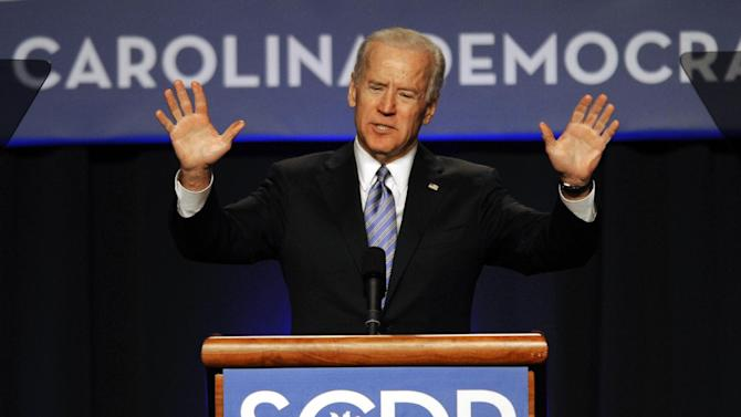 FILE - In this May 3, 2013 file photo, Vice President Joe Biden speaks during the South Carolina Democratic parties Jefferson Jackson Dinner in Columbia, SC. Biden may run for president in 2016, or he may not. But he wants you to know he could. Iowa. New Hampshire, South Carolina. Michigan. Three years out from the next presidential election, the vice president is polishing his connections and racking up favors in all the right states to ensure he stays part of the conversation, keeping his name near the top of a list of likely contenders even if the prime spot seems to have already been claimed by Hillary Rodham Clinton. (AP Photo/Mary Ann Chastain, File)