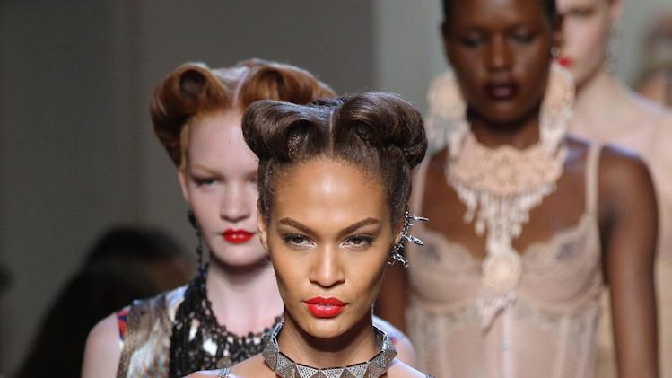 Victory rolls at the Jean Paul Gaultier Spring/Summer 2012 ready-to-wear presentation