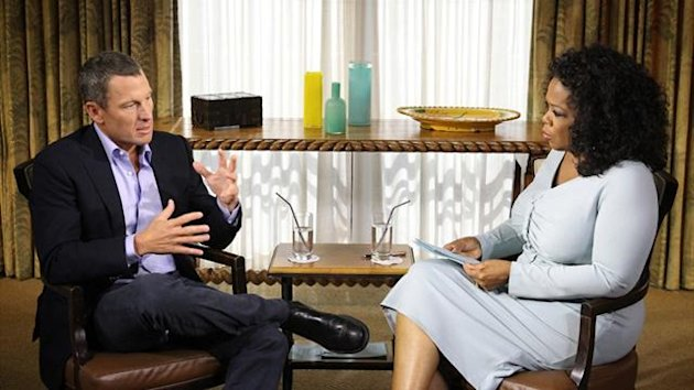 This photo received on January 15, 2013, courtesy of OWN: Oprah Winfrey Network, shows Oprah Winfrey's exclusive interview with Lance Armstrong (AFP)