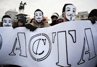 A protest against the Anti-Counterfeiting Trade Agreement (ACTA) in downtown of Sofia in February 2012. Bulgaria&#39;s government formally decided Wednesday to end all consultation and ratification procedures on the controversial ACTA pact against online piracy and counterfeiting, its press office said