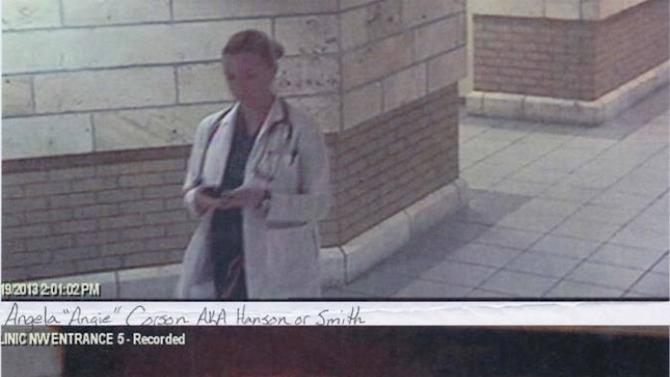 This photo provided by Billings Clinic, shows two still images from surveillance video showing a woman posing as a nurse at the Billings Clinic in Billings, Mont.  Yellowstone County's public-health agency says the Billings Clinic notified the agency Thursday of the impostor. The hospital also contacted police. A notice was sent out to health care workers at the city's other hospital, St. Vincent Healthcare, to be on the lookout for the impostor who dressed in scrubs or a lab coat.(AP Photo/Billings Clinic)
