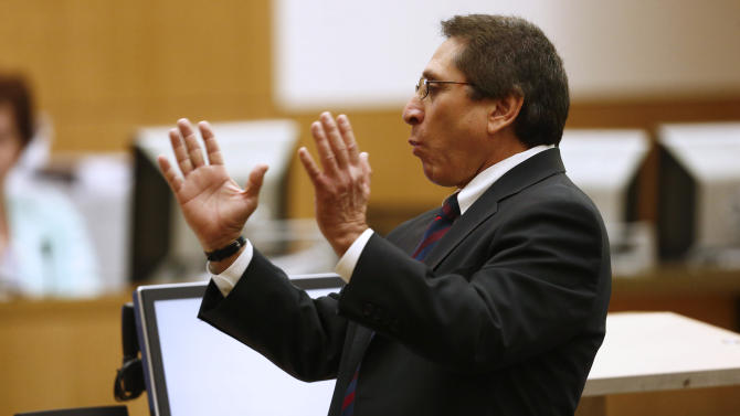 Prosecutor Juan Martinez addresses the jury on Wednesday, May 15, 2013, during the sentencing phase of the Jodi Arias murder trial at Maricopa County Superior Court in Phoenix. If the jury finds aggravating factors in her crime, Arias could be sentenced to death.   (AP Photo/The Arizona Republic, Rob Schumacher, Pool)