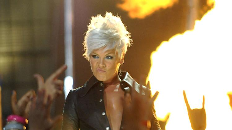 Pink performs at the 2008 MTV Video Music Awards.