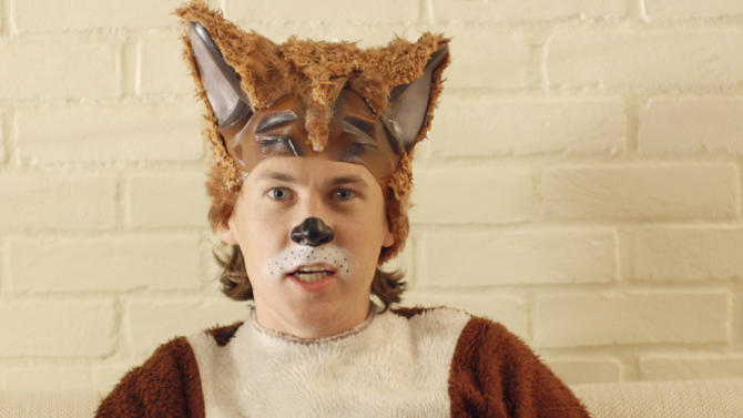 """This image released by TVNorge/Concorde shows Bard Ylvisaker, who along with his brother, Vegard Ylvisaker, are known as Ylvis (ILL-vis), as he sings the opening lyric """"What Does the Fox Say?"""". The funny brothers elevated the woodland creature in their video, """"The Fox (What Does the Fox Say?)"""" in early September and have scored more than 150 million YouTube views of them prancing in fox suits singing: """"Ring-ding-ding-ding-dingeringeding! Gering-ding-ding-ding-dingeringeding!"""" (AP Photo/TVNorge/Concorde)"""