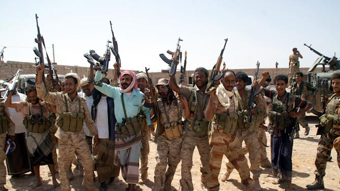 Yemen's army soldiers at an area seized from al-Qaida in the southeastern province of Shabwa