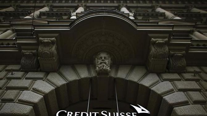 The logo of Swiss bank Credit Suisse is seen on a building at Paradeplatz square in Zurich, February 13, 2013. REUTERS/Michael Buholzer/Files