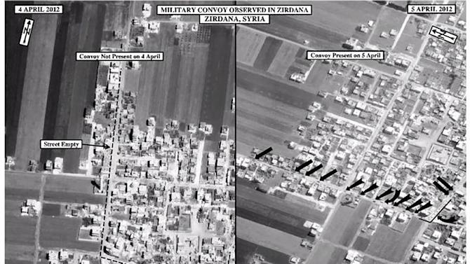 This satellite image posted on the U.S. Embassy Damascus Facebook page Saturday, April 7, 2012, shows the presence of a military convoy in Zirdana, Syria on April 5, right, next to imagery of the same area on April 4, showing no military convoy, according to information shown on the U.S. Embassy Damascus Facebook page. Syrian government shelling and offensives against rebel-held towns killed dozens of civilians across the country on Saturday, activists said, as the U.S. posted online satellite images of troop deployments that cast further doubt on whether the regime intends to comply with an internationally sponsored peace plan. (AP Photo/U.S. Embassy Damascus via Facebook)