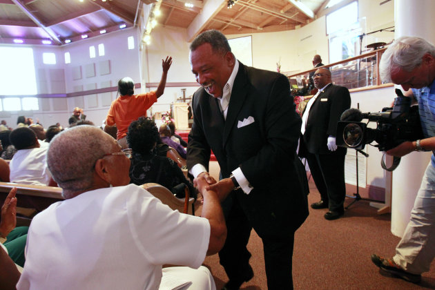 Rev. Fred Luter, pastor of the Franklin Ave. Baptist Church, greets congregation members during Sunday Services at the Church in New Orleans, Sunday, June 3, 2012. The new face of a Christian denomina