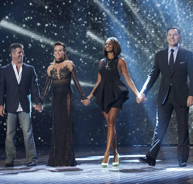 The judges were joined by Simon Cowell and David Walliams on stage.