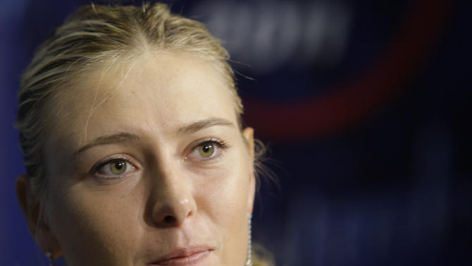 Maria Sharapova, of Russia, speaks during a news conference for the U.S. Open tennis tournament Saturday, Aug. 27, 2011 in New York.  (AP Photo/Frank Franklin II)