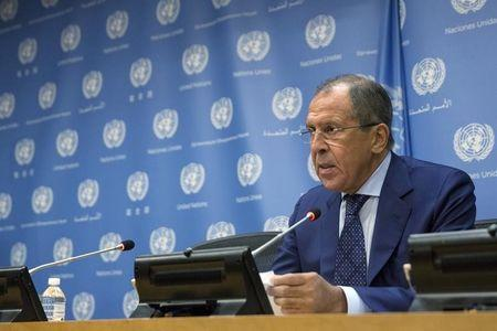 Russian Foreign Minister Lavrov addresses the media during the United Nations General Assembly at the United Nations in Manhattan