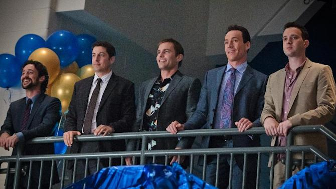 """In this image released by Universal Pictures, from left, Thomas Ian Nicholas), Jason Biggs, Seann William Scott, Chris Klein and Eddie Kaye Thomas are shown in a scene from """"American Reunion"""".  (AP Photo/Universal Pictures, Hopper Stone)"""