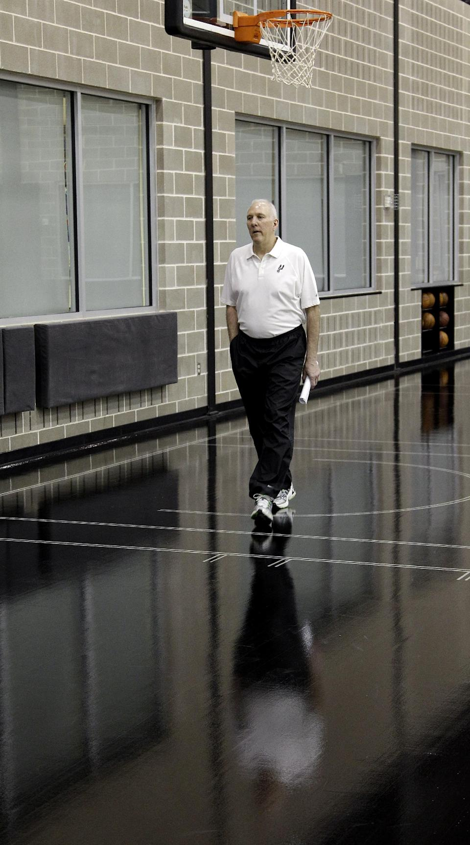 San Antonio Spurs head basketball coach Gregg Popovich arrives for a news conference where he was named the NBA's Coach of the Year at the team's basketball practice facility, Tuesday, May 1, 2012, in San Antonio.  (AP Photo/Eric Gay)
