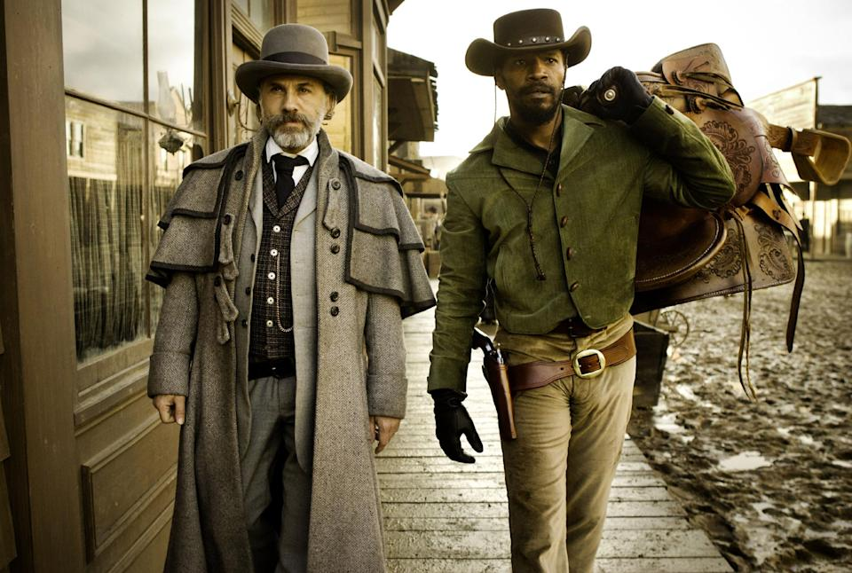 "FILE - This undated publicity file image released by The Weinstein Company shows, from left, Christoph Waltz as Schultz and Jamie Foxx as Django in the film ""Django Unchained,"" directed by Quentin Tarantino.  (AP Photo/The Weinstein Company, Andrew Cooper, SMPSP, File)"