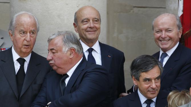 Former French Prime Ministers Balladur, Juppe and Fillon, French Senate President Larcher and French Rights defender Toubon attend the funeral of  Charles Pasqua  in Paris