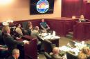 In this image taken from video, accused Colorado theater shooter James Holmes, second from left, listens to testimony by Dr. Raquel Gur, right, during his trial, in Centennial, Colo., Monday, July 6, 2015. Gur, a nationally known schizophrenia expert took the stand in James Holmes' defense Monday. (Colorado Judicial Department via AP, Pool)