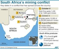 "Factfile locating strikes at Kopanang, Marikana and Rustenberg mines in South Africa at October 9, 2012. South African police have expressed their ""deep regret"" over the shooting deaths of 34 miners in August and acknowledged that the force's response may have been disproportionate, in evidence before the Marikana inquiry on Monday"