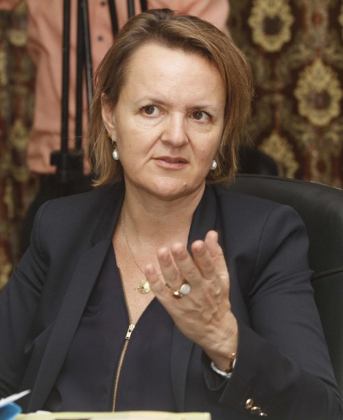 Bella Bird, World Bank country director for Somalia, Sudan and South Sudan speaks during the launch of a report &quot;Pirates in Somalia&quot; in Somalia's capital Mogadishu