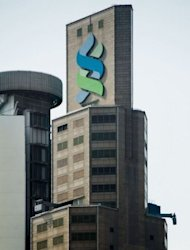 <p>The Standard Chartered Bank building is seen in Hong Kong.</p>