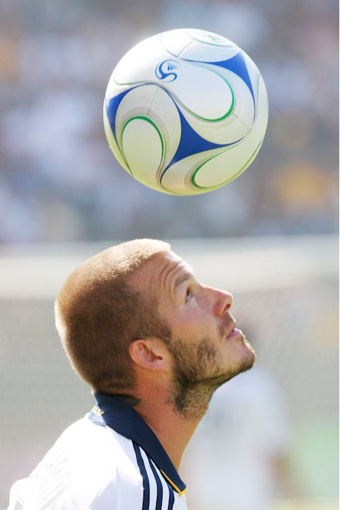CARSON, CA - OCTOBER 26: David Beckham #23 of the Los Angeles Galaxy heads off a ball during their MLS game against FC Dallas at Home Depot Center on October 26, 2008 in Carson, California. (Photo by 