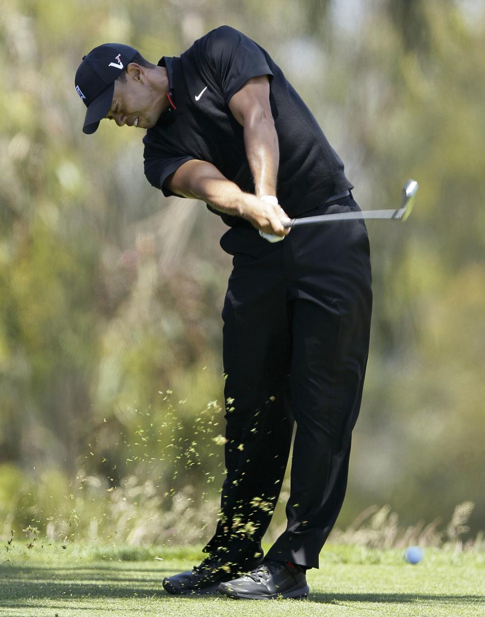 Tiger Woods hits a drive on the second hole during the second round of the U.S. Open Championship golf tournament Friday, June 15, 2012, at The Olympic Club in San Francisco. (AP Photo/Eric Risberg)