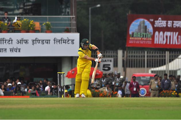Glenn Maxwell in action during the 4th ODI between India and Australia at JSCA Stadium in Ranchi on Oct. 23, 2013. (Photo: IANS)