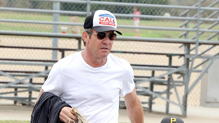Dennis Quaid leaves the baseball field with son Thomas who won a huge trophy!