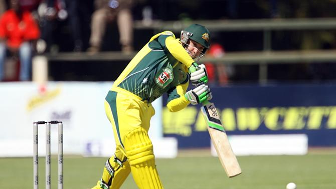 Australian batsman Phil Hughes during the match against South Africa in the one day international tri-series in Harare on August 27, 2014